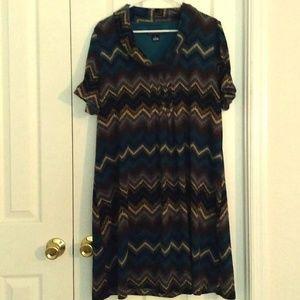 Cowl Neck Soft Multi Colored Dress